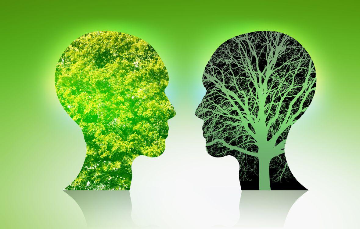 Zwei symbolisierte Menschenköpfe mit nachhaltigem Gedankeninhalt.
