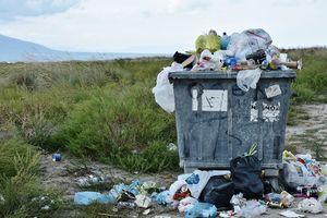 Ein überfüllter Müllcontainer steht in der Natur und quillt über.